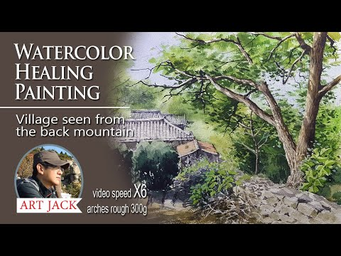 Watercolor healing painting landscape | Village seen from the back mountain  [ART JACK]