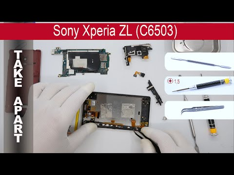 How to disassemble 📱 Sony Xperia ZL (C6502, C6503, C6506, L35h), Take apart, Tutorial