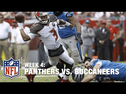 New Panther Jared Allen Loses Helmet, Trips Up Jameis Winston | Panthers vs. Buccaneers | NFL