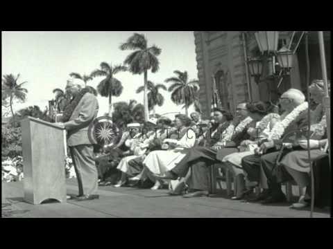 Hawaii's Statehood celebrations at Iolani Palace in Honolulu. HD Stock Footage