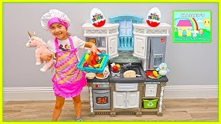 Pretend Play Cooking with Kitchen Play Set & Food Toys! Hailey and Lily