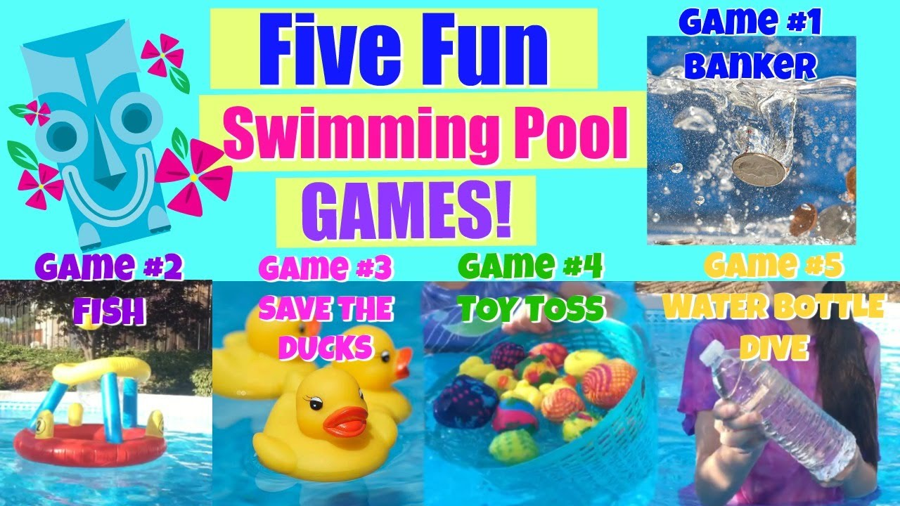 Five fun swimming pool games ideas youtube for Swimming pool games for kids ideas
