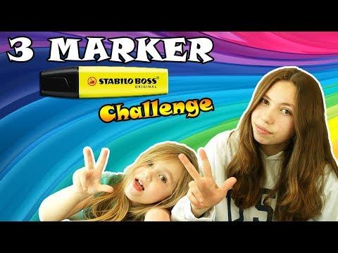 3 MARKER CHALLENGE STABILO XXS ! Lana vs Ellie vs Papa : T'Choupi, Plutot et Stella !