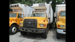 PUBLIC ONLINE AUCTION:  1997 Ford F800 CONVENTIONAL CAB, 16' Refrigerated Box Truck