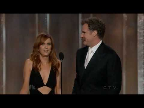 Hillarious Kristen Wiig and Will Ferrell present at the Golden Globe awards 2013