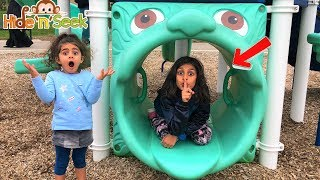 Sally HIDE AND SEEK Pretend Play with Deema at the playground!!!