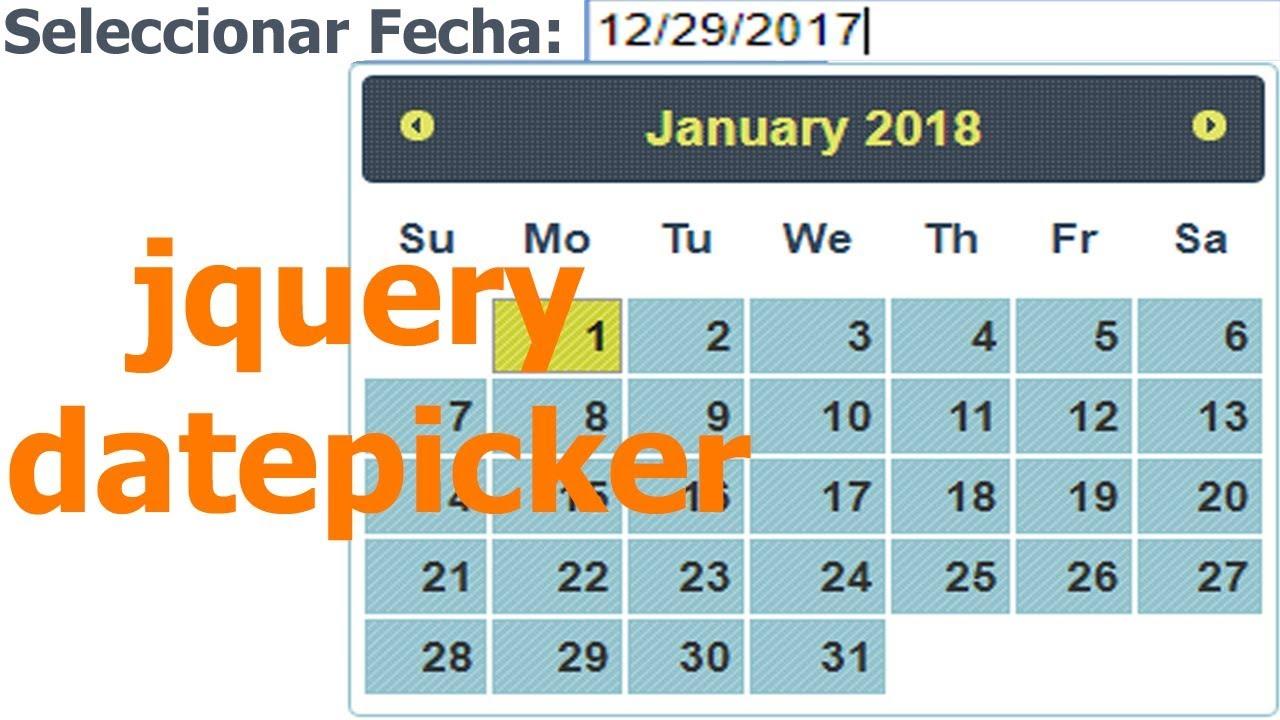 Seleccionar fecha html jquery datepicker - YouTube