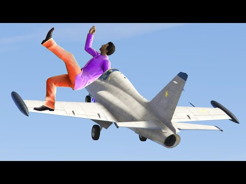 STUCK ON A FLYING JET!? (GTA 5 Funny Moments)