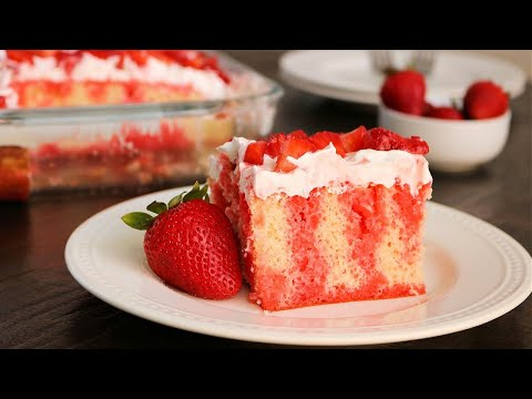 Easy Strawberry Jello Poke Cake - So Delicious!