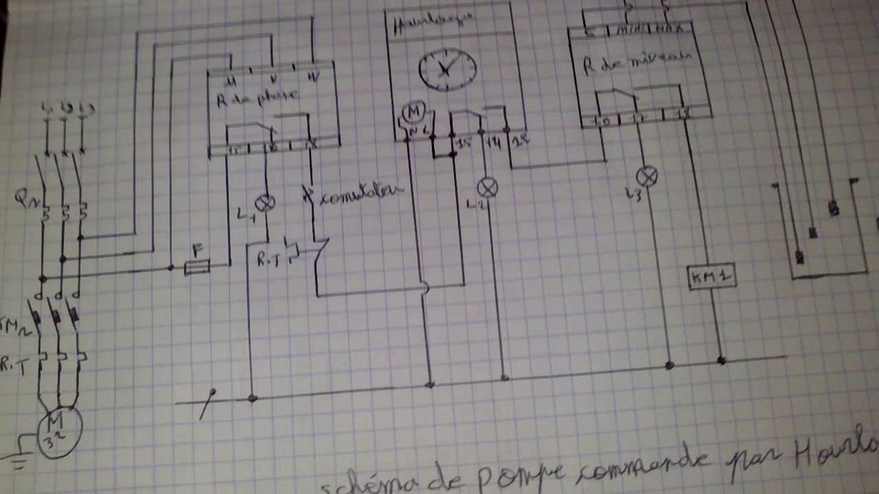 Sch ma de pompe immerge commande par horloge - Branchement electrique pompe a chaleur piscine ...