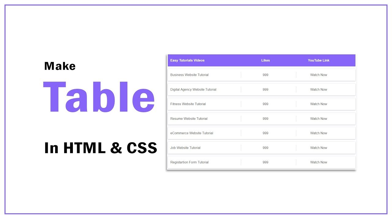How To Create Table In HTML And CSS | HTML Website Tutorials