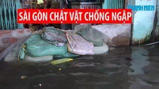 Người Sài Gòn lại chật vật chống ngập vì đợt triều cường mới