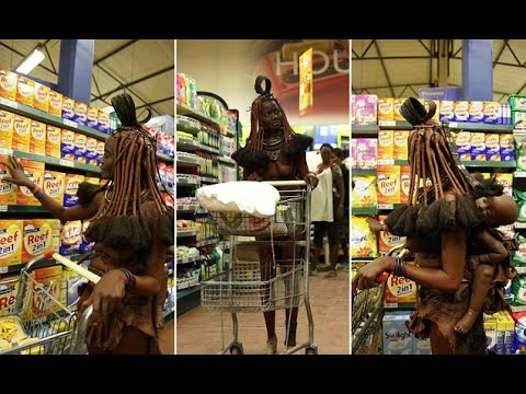 Amazing photos of African tribeswoman making trip to the supermarket
