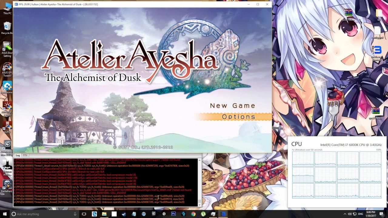 BLUS31152 - Atelier AyeshaThe Alchemist of Dusk - RPCS3 by AMMARYT