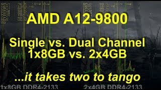 aMD A12-9800 iGPU (A10-9700...)- Single Channel vs. Dual Channel RAM Test. Valid for all APU's