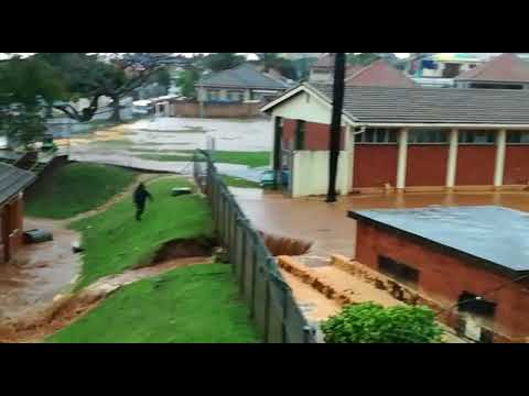 Rain water pours into Durban Primary School covering the swimming pool