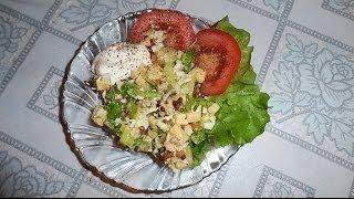 GVK : Салат с курицей и ананасами, салат с ананасами, салат с обжаренным луком