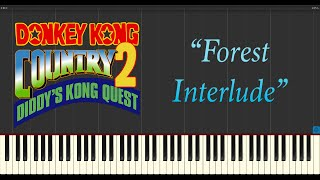 Donkey Kong Country 2: Diddys Kong Quest - Forest Interlude (Piano Tutorial Synthesia)