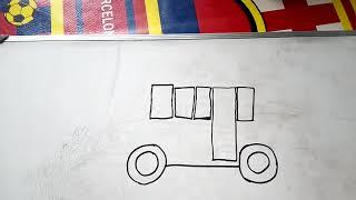 Cara mudah menggambar bis - how to draw bus in easy way