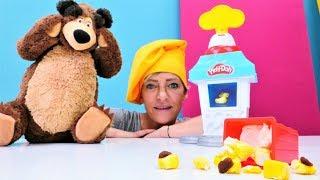 Çocuklar için oyun videosu.  Play -Doh popcorn oyuncak set...
