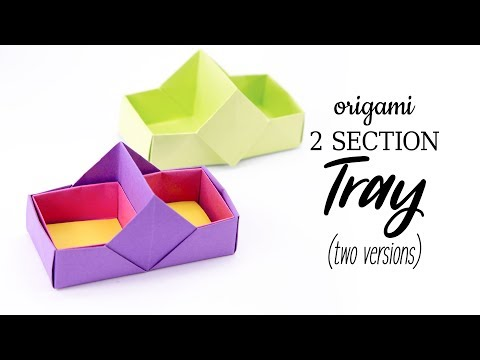 2 Section Origami Box / Tray Tutorial - 2 Versions - Stacking Boxes - Paper Kawaii
