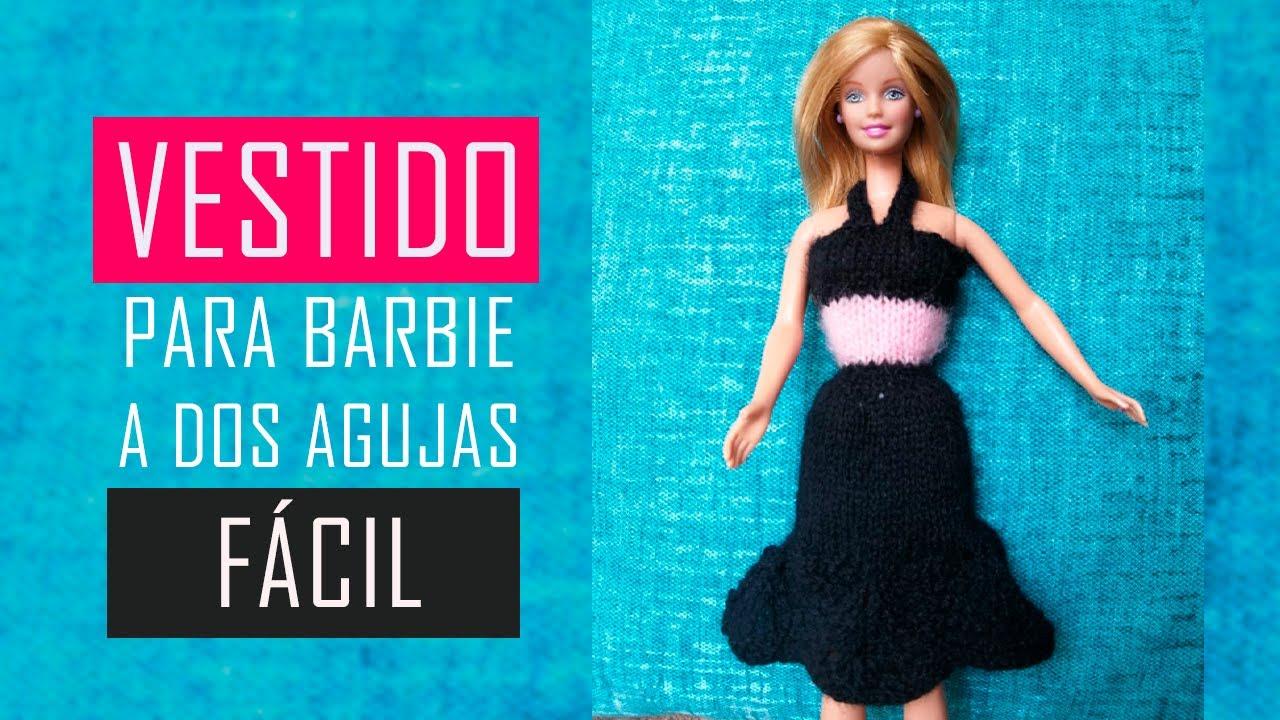 * Vestido de Barbie a Dos Agujas o Palitos en Punto Pavo Real
