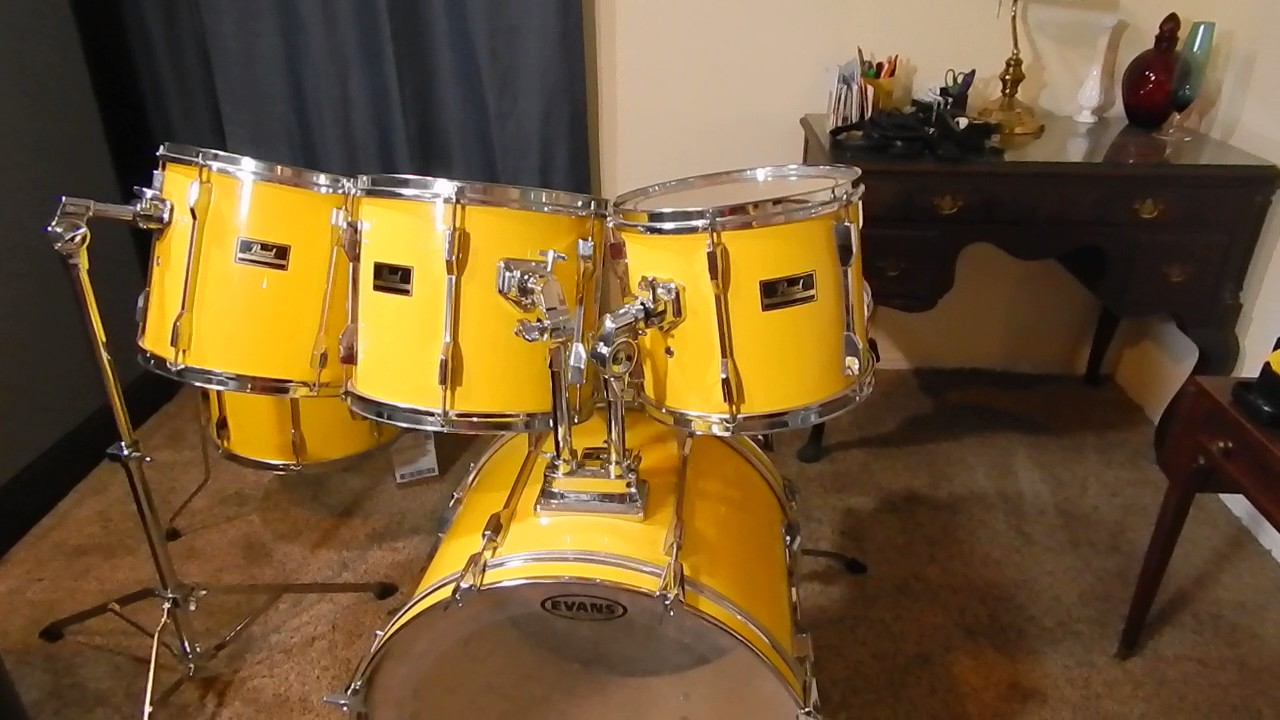 Pearl Drums Export Series 1989 95 Yellow Flash Set Part 2 Youtube