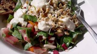 Raw Salad With A Tahini Salad Dressing