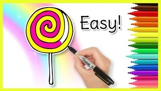 How to Draw a LOLLIPOP! Coloring Page for Kids