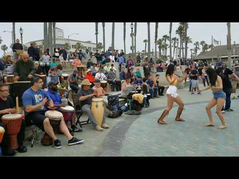 Huntington Beach Drum Circle Sunday On The Plaza