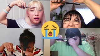 people cutting their own bangs and regret it for 12 minutes straight