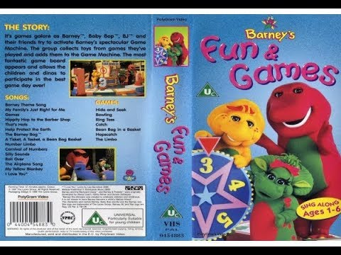 Barney Barneys Fun and Games VHS, 2000, Classic Collection
