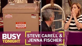 Steve Carell Scares the Heck Out of Jenna Fischer! | Busy Tonight | E!