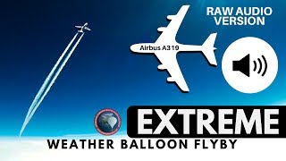 raw audio   extremely close airbus a319 flyby captured by gopro on a high altitude weather balloon