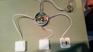 видео Схема подключения проходного выключателя с 3х мест