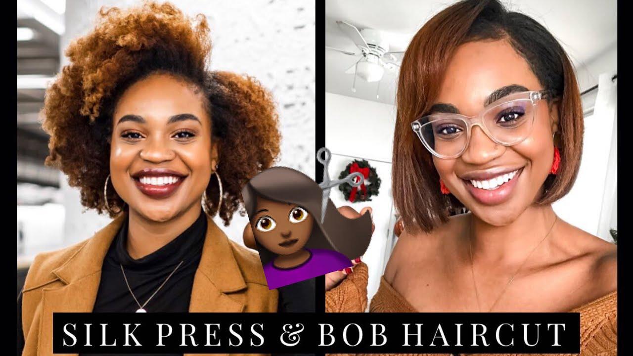 I GOT A SILK PRESS & CUT MY NATURAL HAIR INTO A BOB!