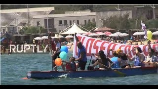LIVE  Pro refugee protesters sail against Defend Europe