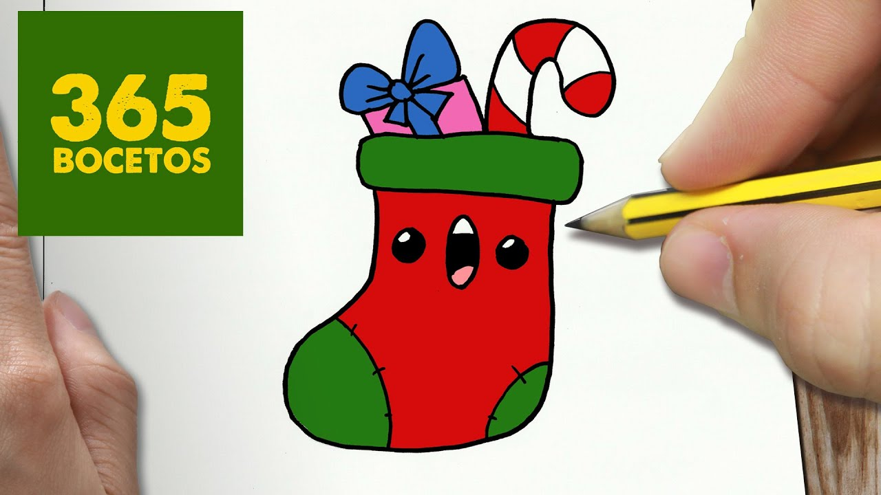 COMO DIBUJAR CALCETIN NAVIDAD KAWAII PASO A PASO , Dibujos kawaii faciles , draw CHRISTMAS STOCKING , YouTube