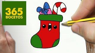 COMO DIBUJAR CALCETIN NAVIDAD KAWAII PASO A PASO - Dibujos kawaii faciles - draw CHRISTMAS STOCKING