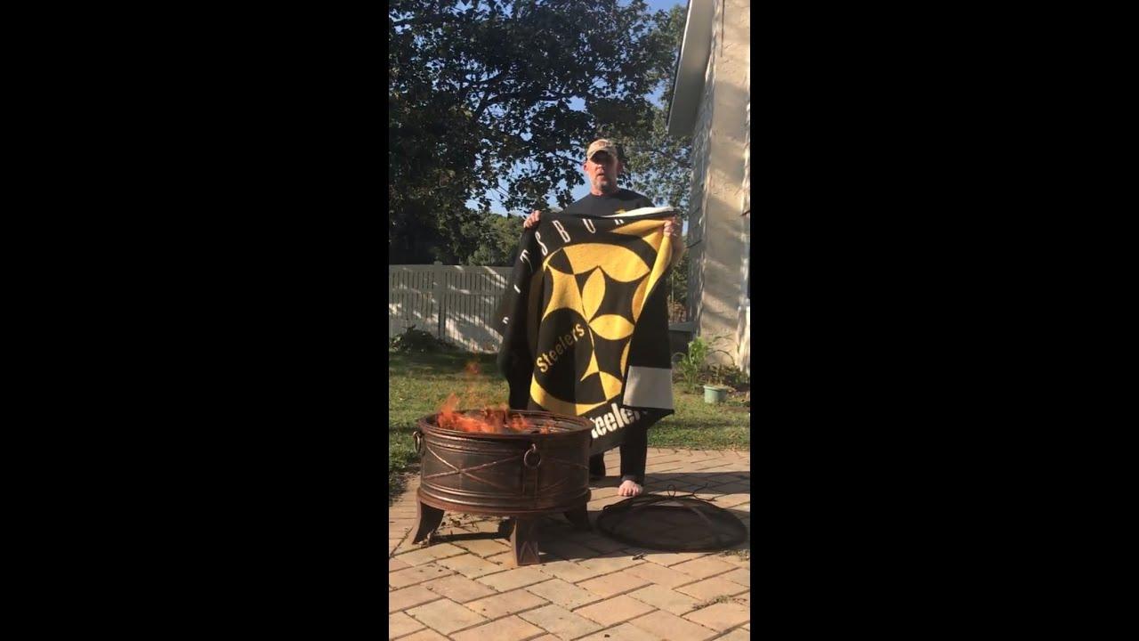 b0f2ba94c0f Veteran Steelers Fan Burns Gear - YouTube