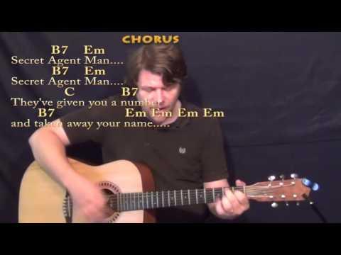 Secret Agent Man - Strum Guitar Cover Lesson with Chords/Lyrics