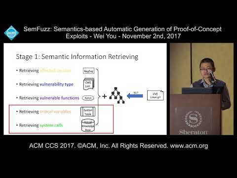 ACM CCS 2017 - SemFuzz: Semantics-Based Automatic Generation of [...] - Wei You