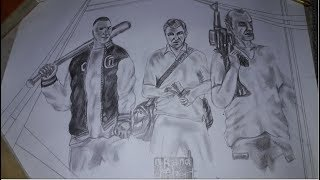 How to draw GTA 5 poster drawing