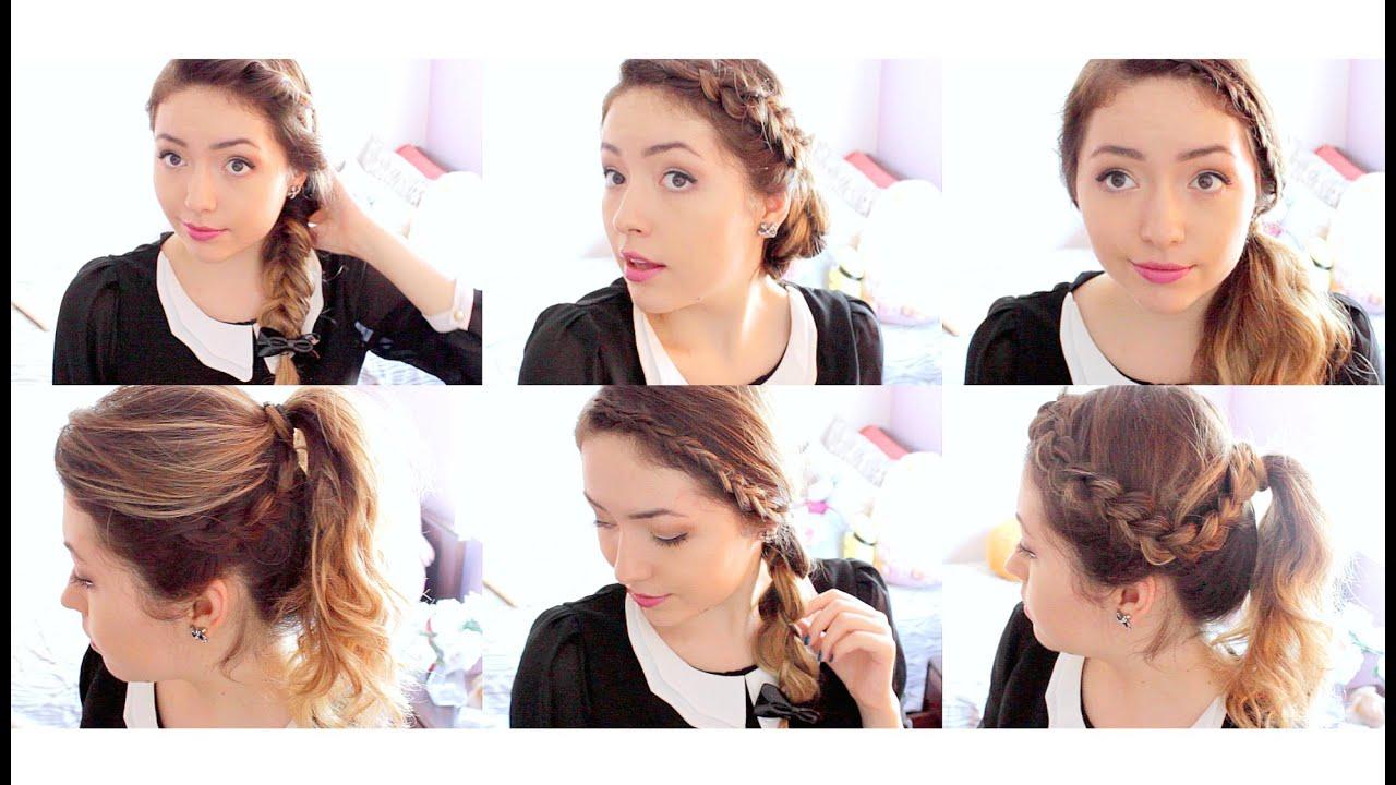6 Peinados Para La Escuela Trabajo Facil Rapido Ekaty Youtube