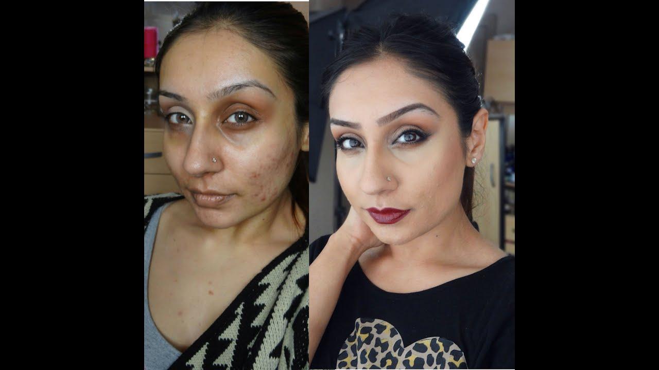 Acne scaring rosacea Foundation routine Indian Olive skin tone|| Raji Osahn
