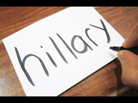 How to turn words HILLARY CLINTON into a Cartoon ! Learn drawing art on paper for kids