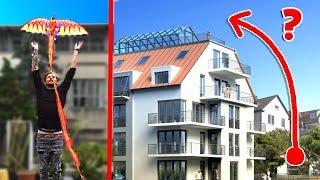 Schafft der Drachen es ÜBERS Haus zu fliegen?