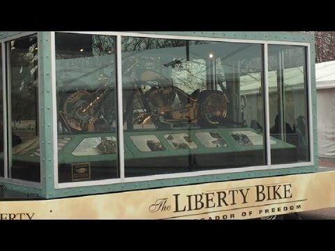 """""""Liberty Bike"""" On Exhibit Beneath the Statue Of Liberty"""