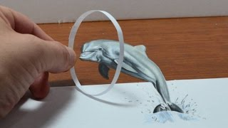 Trick Art, Drawing a Dolphin, Anamorphic Illusion