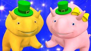 Lerne mit Dino - Saint Patrick - Lerne die Farben des Regenbogens - Lehrreiche Cartoons 🚚